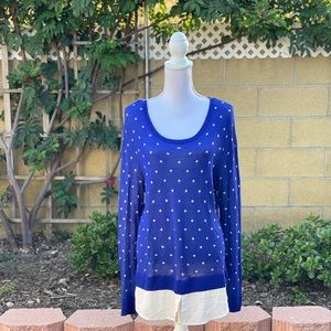 Kensie blue faux layered sweater